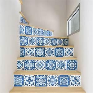 Escalier Carreaux De Ciment : stickers escalier carreaux de ciment ambra x 2 ambiance ~ Dailycaller-alerts.com Idées de Décoration