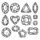 Jewels Gemstones Illustration Gem Coloring Gemstone Line Drawing Pages Sketch Vector Stones Drawn Adult Jewel Diamond Tattoo Hand Crystal Getdrawings sketch template