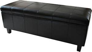 Leather Ottoman Footstool by New Real Genuine Leather Black Ottoman Bedding Box Storage