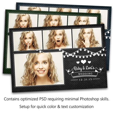 photo booth psd template lights chalkboard postcard photo booth template