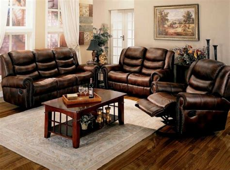 rustic living room furniture brown leather rustic living room furniture set with