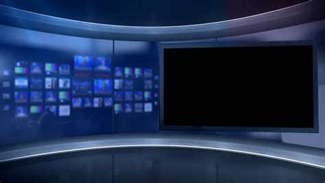 templates vegas telejornal virtual tv studio set with main monitor blurred