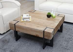 Couchtisch HWC A15 Wohnzimmertisch Tanne Holz Rustikal