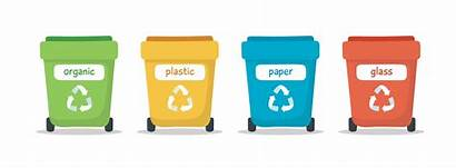 Sorting Waste Garbage Illustration Recycling Bins Colorful