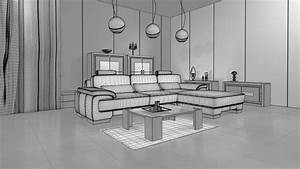 3d, Living, Room, With, Modern, Interior, Design