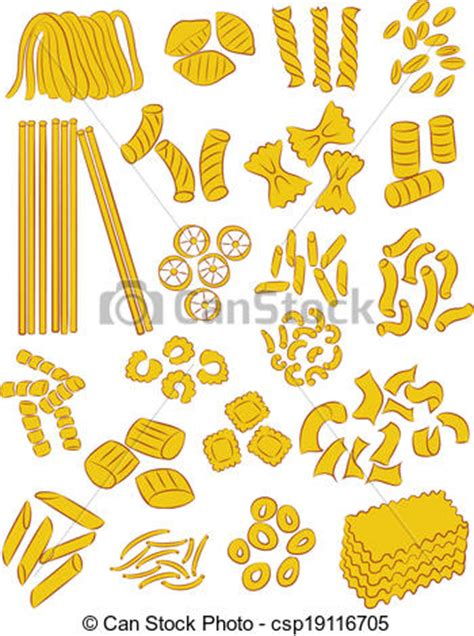 clipart vecteur de p 226 tes vecteur s 233 lection de diff 233 rent types de p 226 tes csp19116705