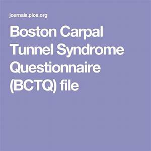 Boston Carpal Tunnel Syndrome Questionnaire  Bctq  File