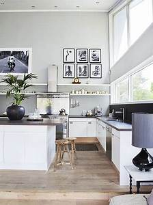 Cuisine Ouverte Sur Salon : couleur grise et blanc pour cuisine ouverte sur salon ~ Dallasstarsshop.com Idées de Décoration