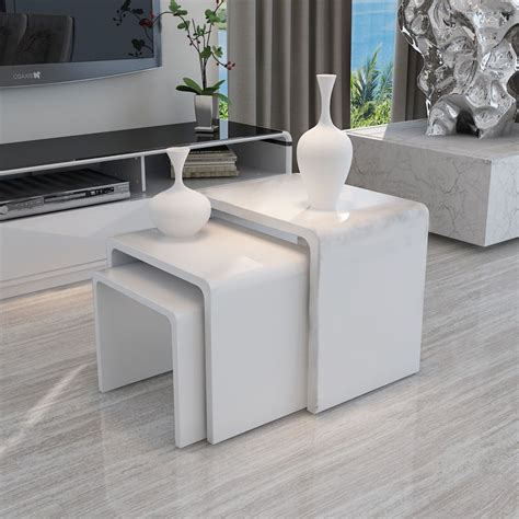 Living Room Side Tables Ebay by White Modern High Gloss Nest Of 3 Coffee Table Side End
