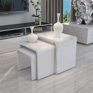 high gloss 3 side nested of tables white set coffee table With white coffee table set of 3
