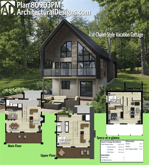 Plan 80903PM: Chalet Style Vacation Cottage in 2020