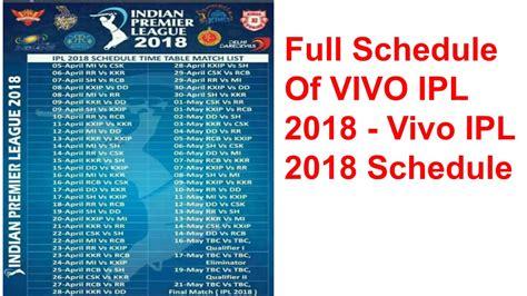 schedule of vivo ipl 2018 vivo ipl 2018 schedule