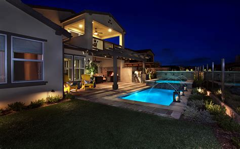 Photo Villa Pools Lawn Night Cities Houses 3840x2400