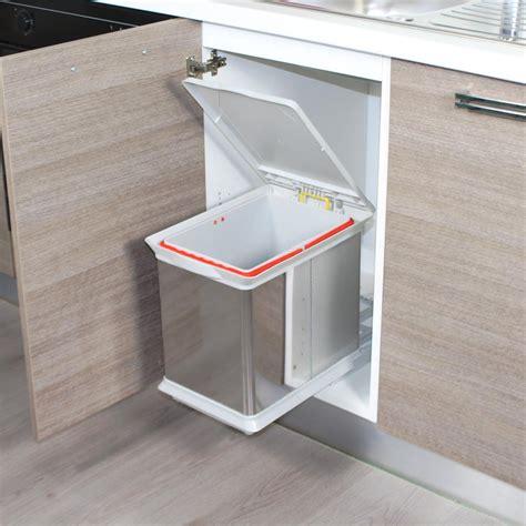 poubelle de cuisine encastrable en inox dravyn 16 litres