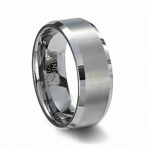 Brushed Tungsten Wedding Band Beveled Edges
