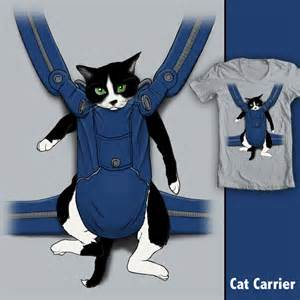 cat in baby carrier shirt woot