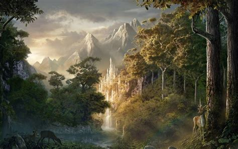 fantasy tree forest ice castle wallpaper