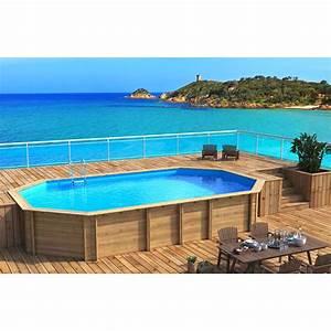 piscine hors sol bois weva l84 x l49 x h146 m With marvelous terrasse piscine semi enterree 8 piscine bois ronde