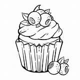 Coloring Cupcake Muffin Kawaii Blueberry Colorear Kleurplaat Colorare Cupcakes Colorir Vector Schattige Premium Pagina Coloriage Panna Bladeren Bessen Cream Kleurplaten sketch template