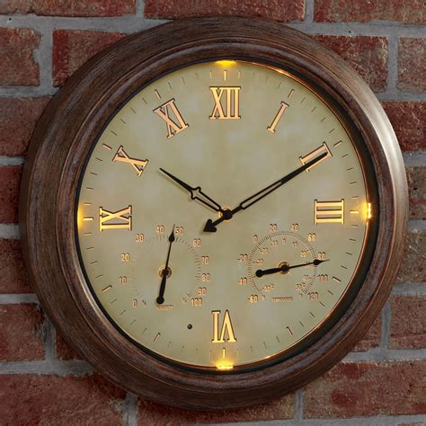 the only cordless illuminated outdoor clock hammacher