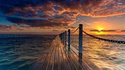 Sunset Landscape Wallpapers Pier Nature Beach Dock