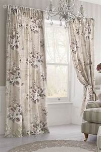 Buy Mauve Floral Poetry Printed Pencil Pleat Curtains from