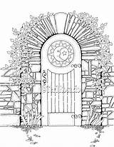Gate Garden Coloring Drawing Gates Enchanted Sketch Template sketch template