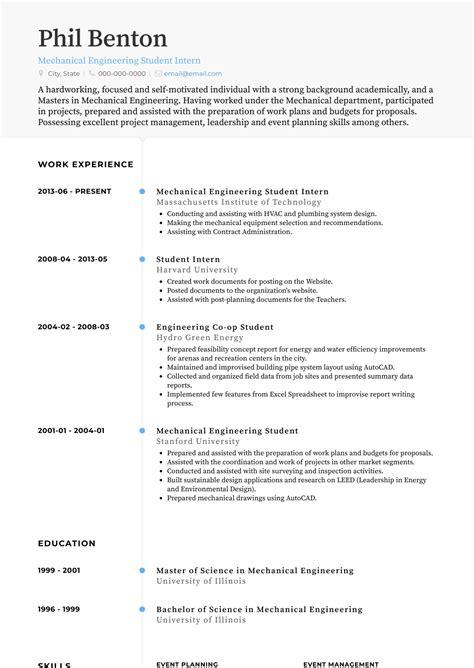 mechanical engineer internship resume  resume templates
