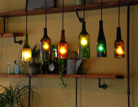 wine bottle light fixture innovative use of these