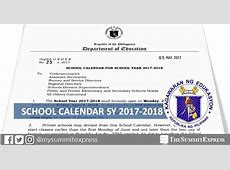DepEd releases school calendar for SY 20172018 The