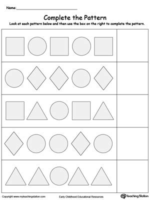 Preschool Patterns Printable Worksheets Myteachingstationcom