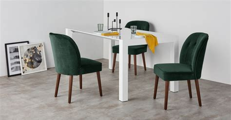 set of dining chairs in pine green velvet margo with