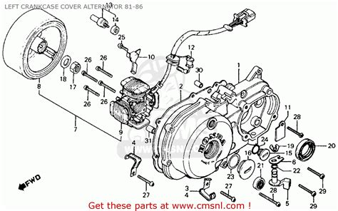 Wiring Diagram 110 Trail Bike by Honda Ct110 Trail 110 1982 Usa Left Crankcase Cover