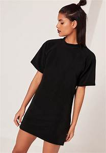 short sleeve oversized t shirt dress black missguided With robe tee shirt oversize