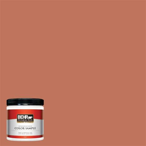 behr premium plus 8 oz pmd 11 warm terra cotta flat interior exterior paint and primer in one