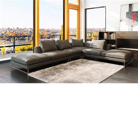 dreamfurniture com 5051 modern bonded leather grey sectional sofa