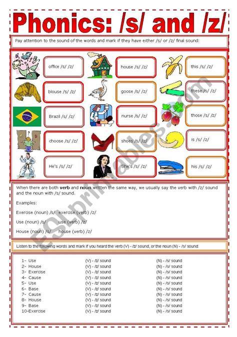 phonics s z esl worksheet by zailda