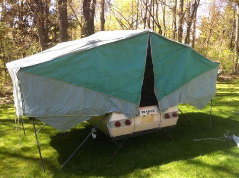 apache silver eagle camper popup tent trailer pop  vintage camper camping ideas