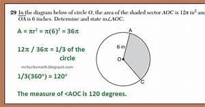 X  Why    Daily Regents  Area Of A Sector Of A Circle