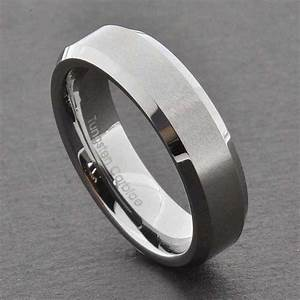 Tungsten Carbide Ring Comfort Fit Wedding Band Men Silver