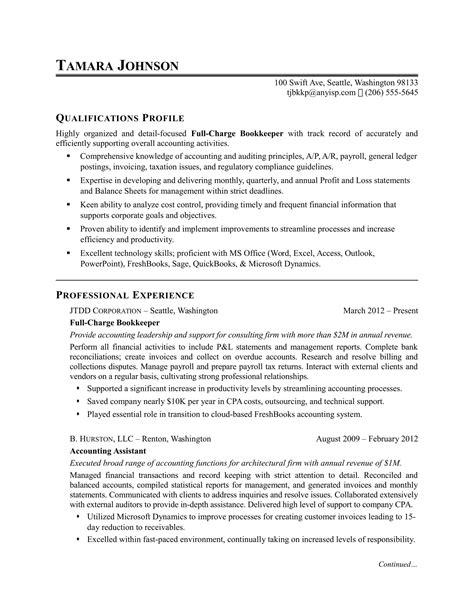 bookkeeper resume sample monstercom