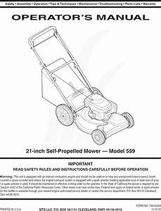 Mtd 12a 559q795 User Manual Lawn Mower Manuals And Guides