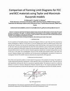 Pdf  Comparison Of Forming Limit Diagrams For Fcc And Bcc Materials Using Taylor And Marciniak