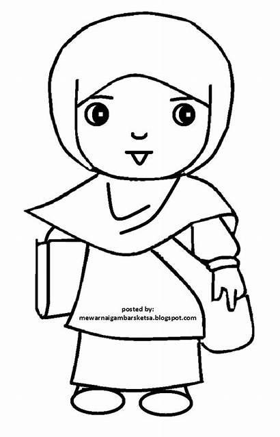 Gambar Kartun Mewarnai Anak Sketsa Muslimah Muslim