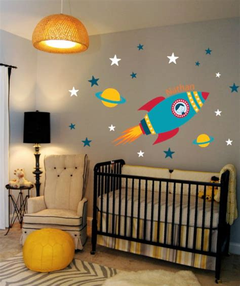 rocket wall decal boys name outer space room custom