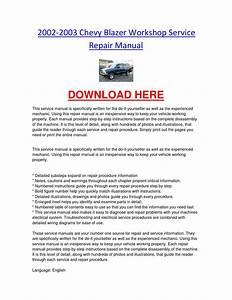 2002 2003 Chevy Blazer Workshop Service Repair Manual By