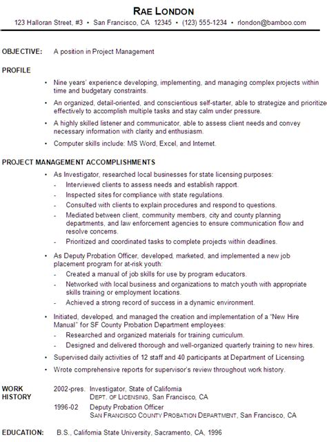 20269 exle management resume functional resume exle project manager school stuff