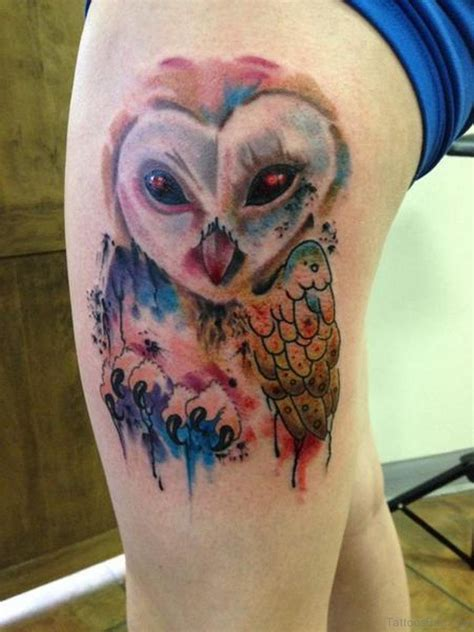 wonderful owl tattoos  thigh