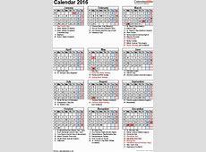 2016 Calendar With Holidays Pdf printable yearly calendar