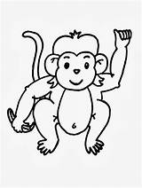 Monkey Baby Drawing Coloring Kindergarten Line Clip Worksheet Guide Pages sketch template